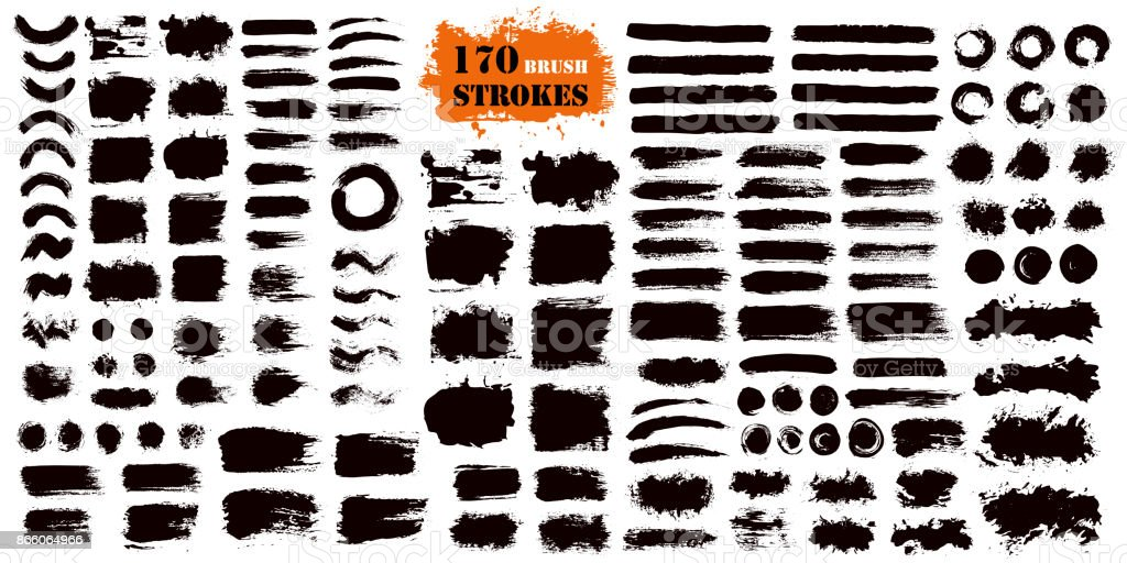 Brush Stroke Paint Boxes Set vector art illustration