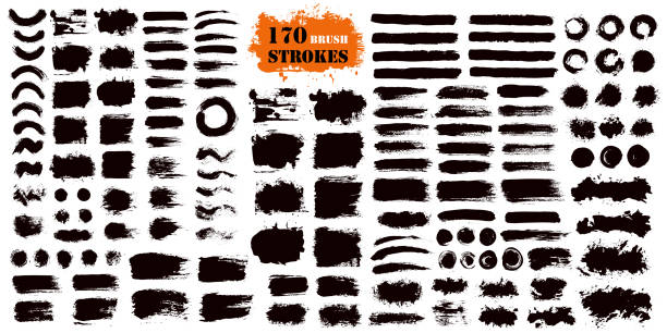 stockillustraties, clipart, cartoons en iconen met brush stroke verf vakken set - vlek