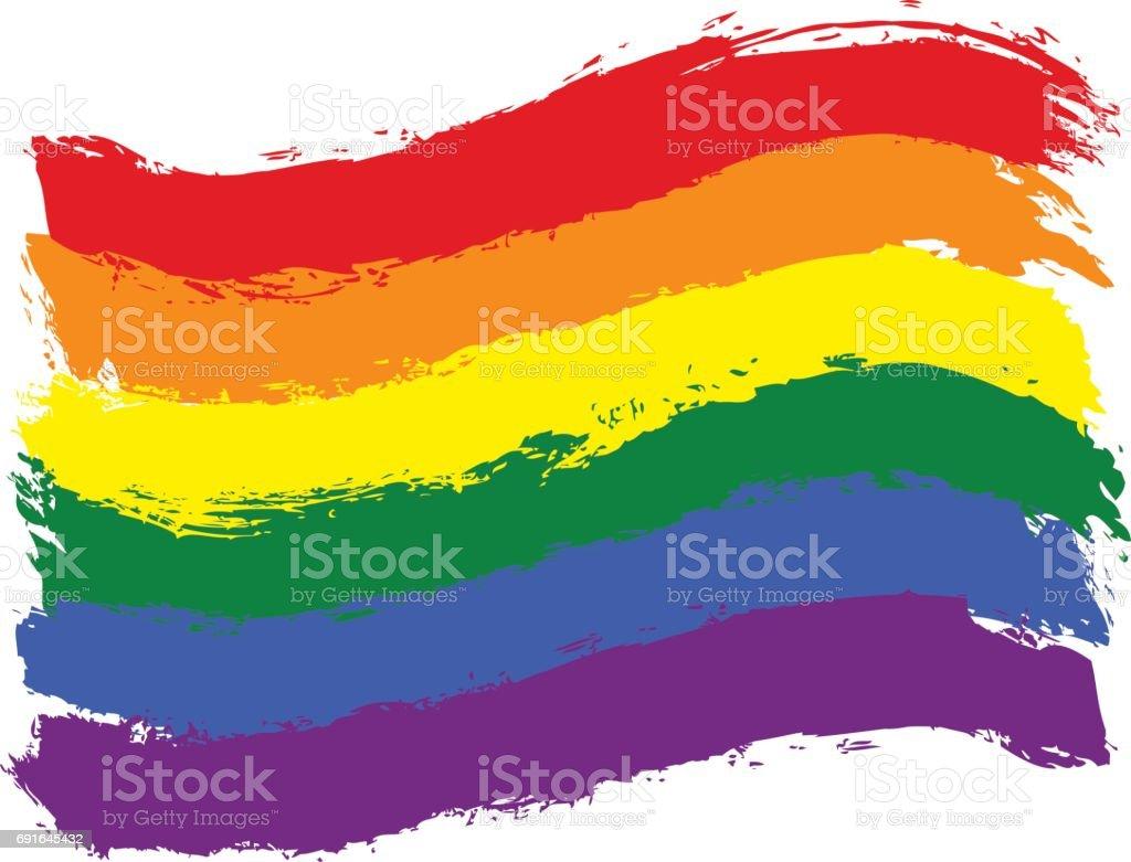 Brush Stroke Rainbow Flag LGBT Movement vector art illustration