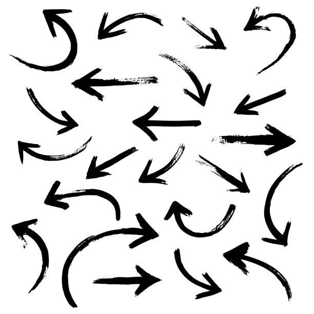 Brush stroke set of black arrows Brush stroke set of black arrows curve stock illustrations