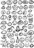 53 brushed stroked (vector) smileys. Individually grouped for easy copy-n-paste. Illustrator 8.0; EPS v8;  PSD. Spread out versions also included for easier pickings.