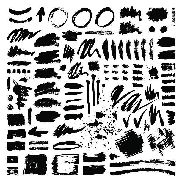 Brush stroke vector set Vector large set of different grunge brush strokes. Ink brush stroke art texture and brush stroke big set. Dirty art collection brush stroke and brush stroke creative grungy element paintbrush. make up brush stock illustrations