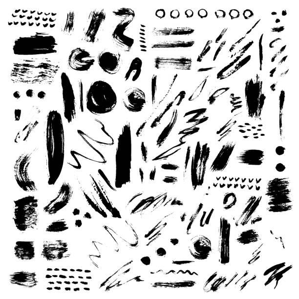 Brush stroke vector set. Vector large set of different grunge brush strokes. Ink brush stroke art texture and brush stroke big set. Dirty art collection brush stroke and brush stroke creative grungy element paintbrush. make up brush stock illustrations