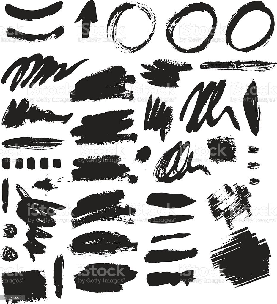 Brush stroke vector set. - ilustración de arte vectorial