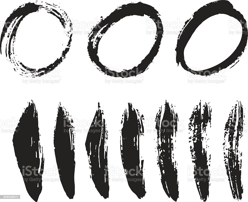 Brush stroke vector set. vector art illustration