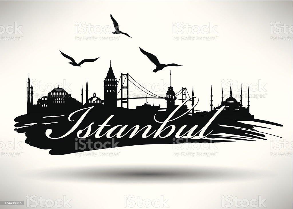 Brush Stroked Istanbul Silhouette vector art illustration