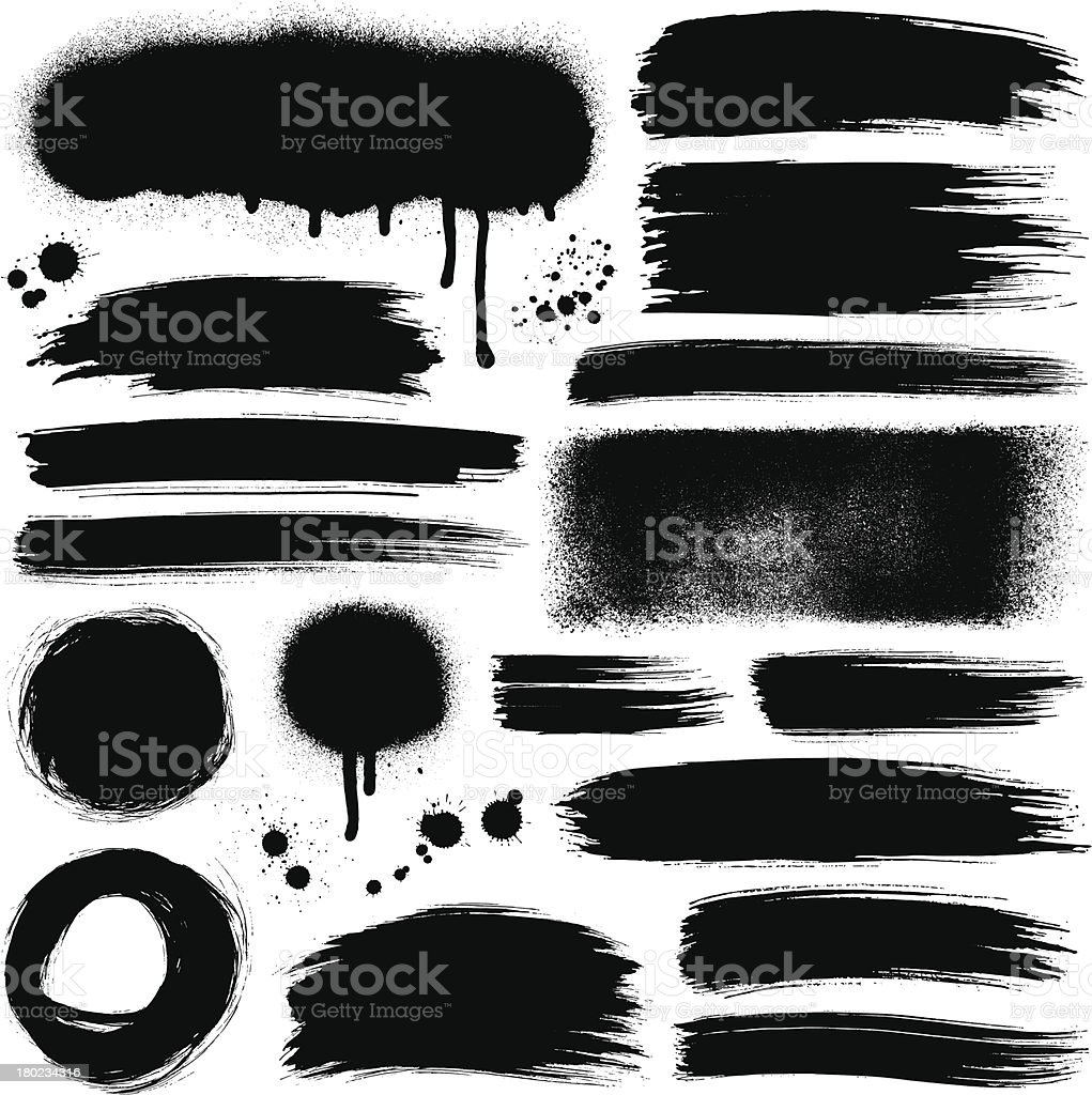Brush strokes and paint backgrounds vector art illustration