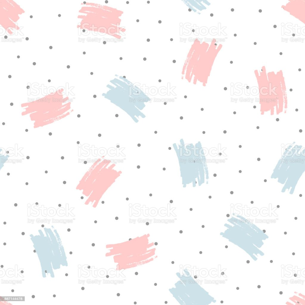 Brush strokes and round dots. Trendy seamless pattern drawn by hand. Grunge, sketch, watercolour. vector art illustration