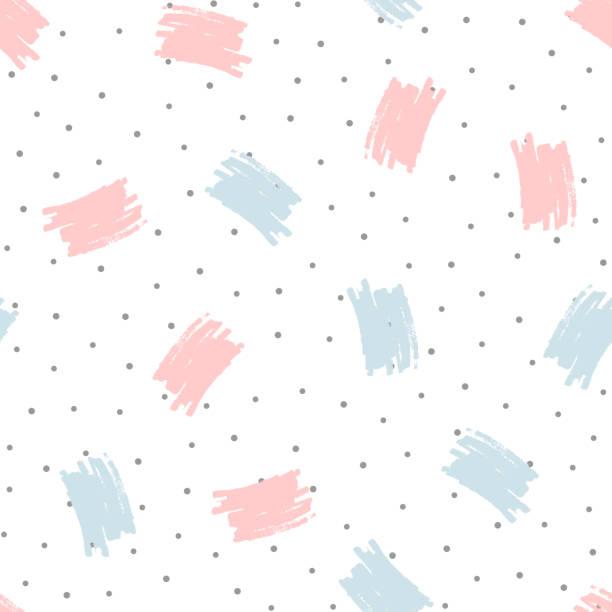 stockillustraties, clipart, cartoons en iconen met penseelstreken en ronde stippen. trendy naadloze patroon met de hand getekend. grunge, schets, aquarel. - background baby