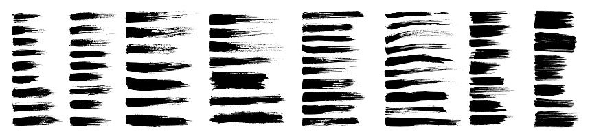 Brush strokes, black ink lines, vector abstract set with paint brush grunge texture on white background. Paintbrush strokes and ink smear stains