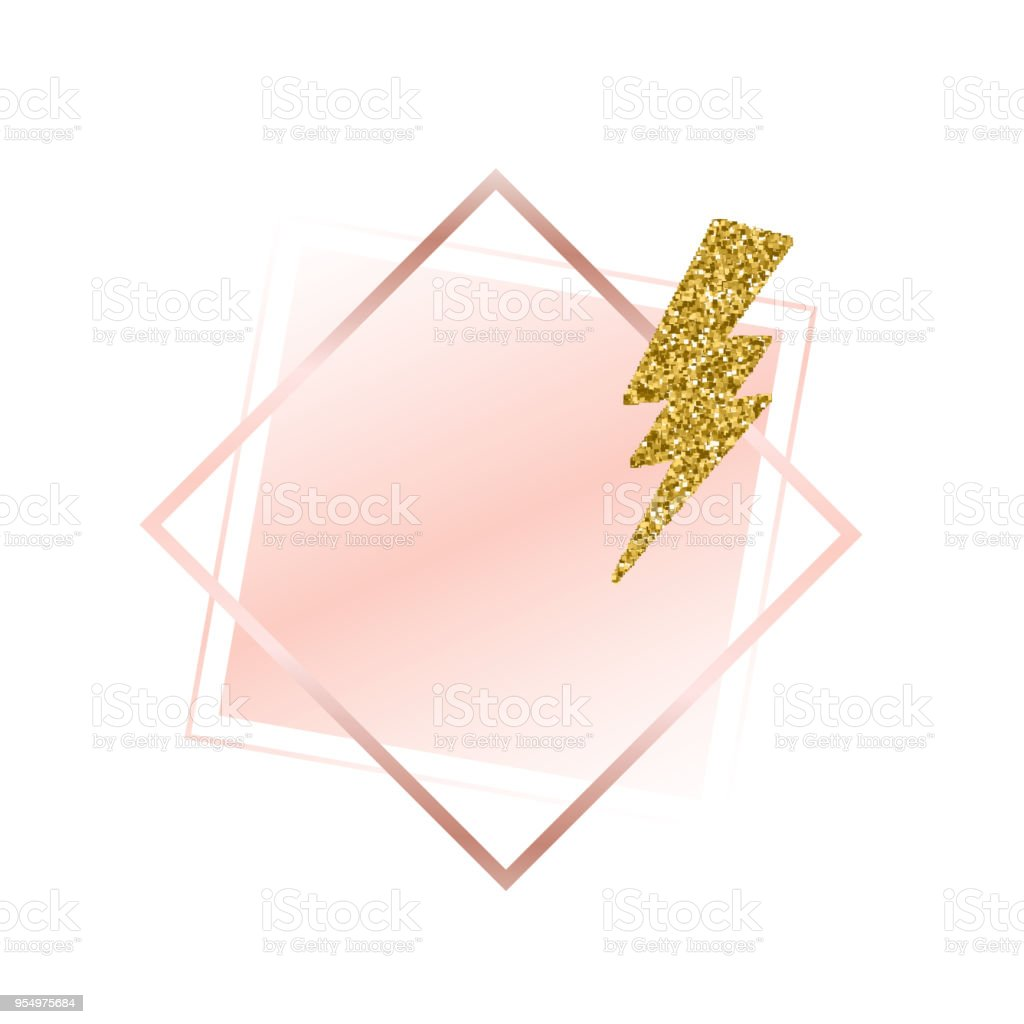 6d8e9e75082a Brush strokes in gentle pink tones.Gentle pastel colors.Rose gold frame.Abstract  vector background.Shiny golden lightning.Pink sparkle glossy scribble
