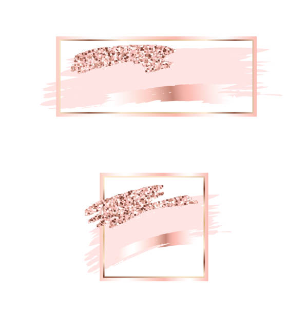 Brush strokes in gentle pink tones.Gentle pastel colors.Rose gold rectangle frame .Abstract vector background.Pink sparkle glossy scribble, grunge or smudge. Glam style cosmetic Brush strokes in gentle pink tones.Gentle pastel colors.Rose gold frame circle and hexagonal frame .Abstract vector background.Pink sparkle glossy scribble, grunge or smudge. glamour stock illustrations