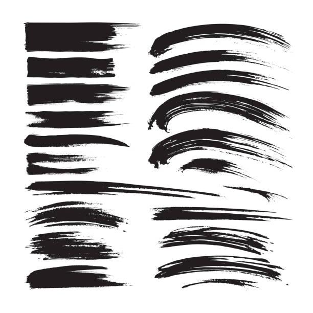 pinselstriche tinte schwarz malerei - kreative s. schmutzige künstlerische designelemente. vektor-illustration. - splash grafiken stock-grafiken, -clipart, -cartoons und -symbole