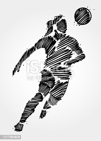 istock Brush strokes of woman soccer player on white background 1217994826