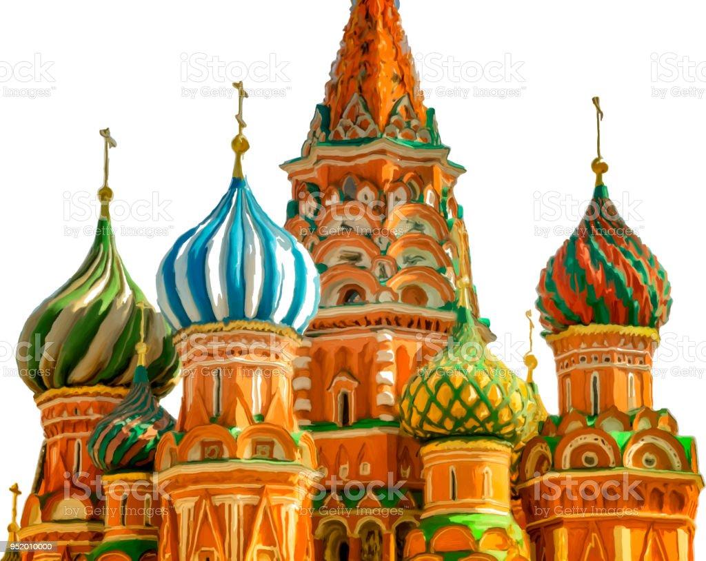 Pinselstriche Malerei der Basilius Kathedrale, Moskau, Russland, isoliert auf weißem Hintergrund. – Vektorgrafik