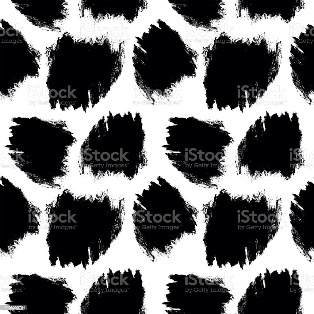 Brush strokes seamless pattern. Hand-drawn black and white vector...