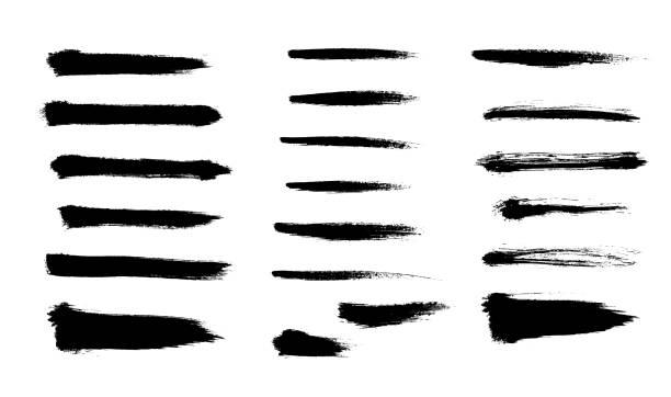 мазки кисти устанавливают нарисованную вручную набросать абстрактную векторную иллюстрацию. шаблон пограничного дизайна. - краска stock illustrations