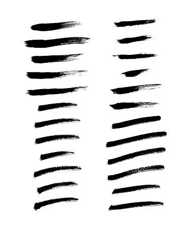 Brush strokes set hand drawn scribble abstract vector illustration. Border design template.