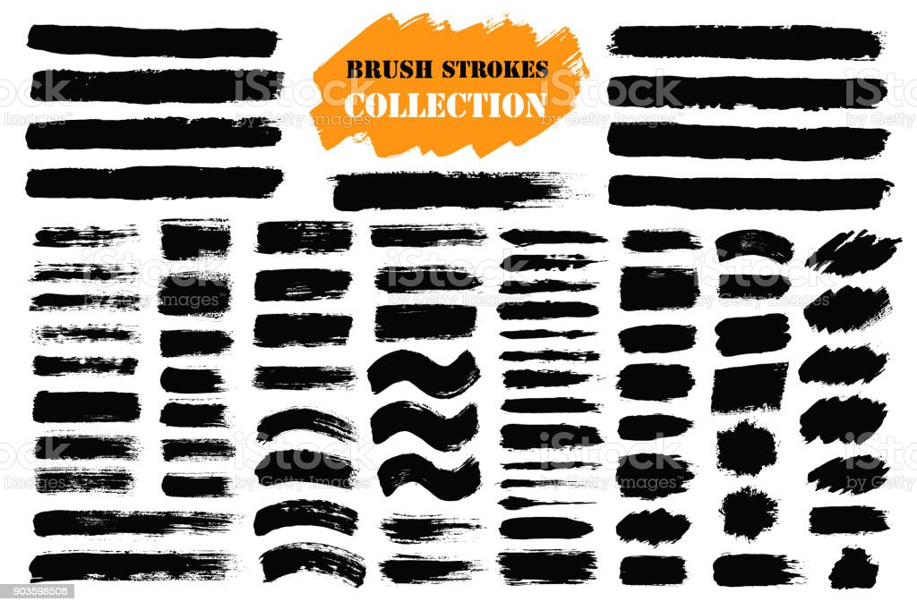 Brush strokes text boxes vector art illustration