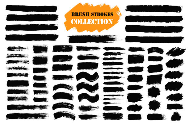 Brush strokes text boxes vector art illustration