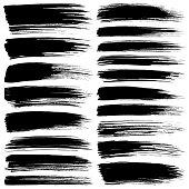 Set of vector brush strokes. Isolated brush smears black on white. Hand drawn paint grunge design elements.