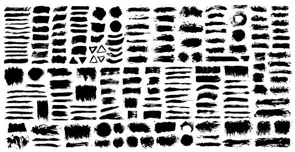 Brush strokes. Vector paintbrush set. Grunge design elements