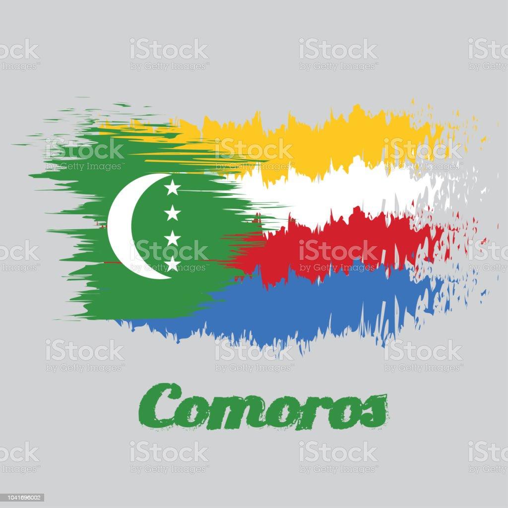 Bürsten Sie Stil Farbe Flagge Der Komoren Gelbweißrot Und