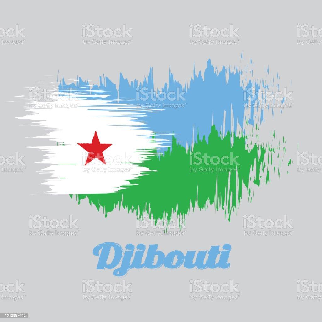 Brosse Style Couleur Drapeau De Djibouti Un Horizontal Vert
