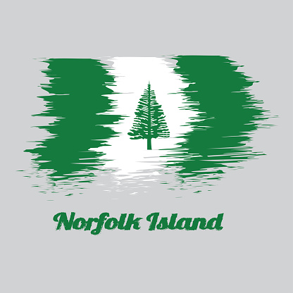 Brush style color flag of Norfolk, Norfolk Island Pine in a central white stripe between two green stripes.
