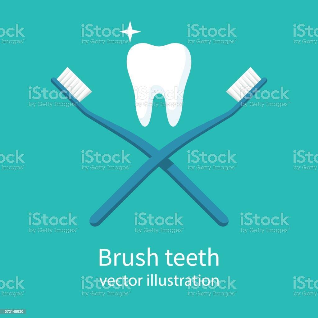 Brush teeth vector vector art illustration