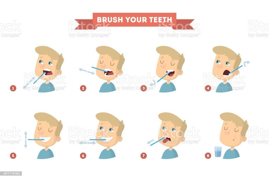 Brush your teeth set with boy. vector art illustration