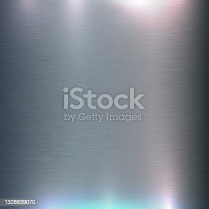 istock Brushed Aluminum Metal Steel Colorful Light Texture 1328839070