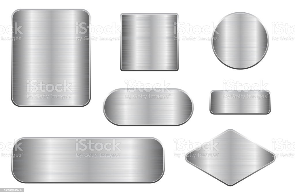 Brushed metal plates. Set of geometric shape plaques vector art illustration