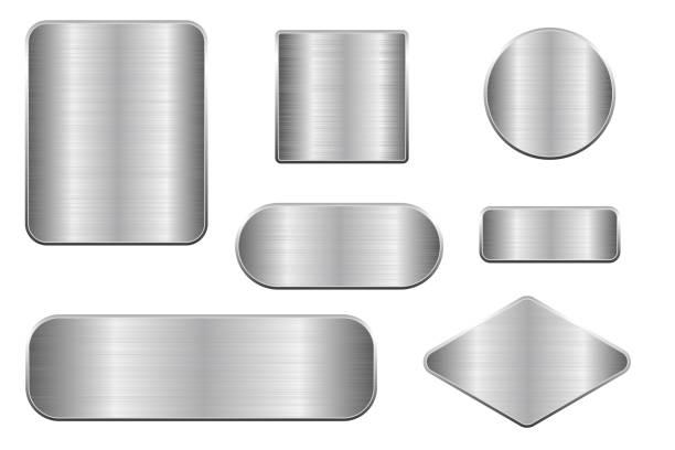 拉絲金屬板。幾何形狀斑塊的集合向量藝術插圖