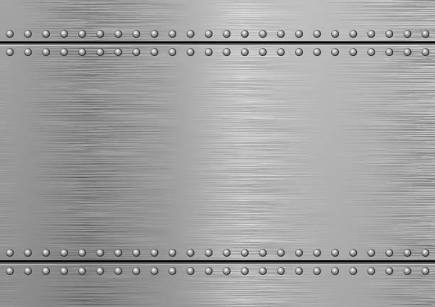 Brushed Metal Gray Textured Metallic Background. Brushed Metal metal stock illustrations