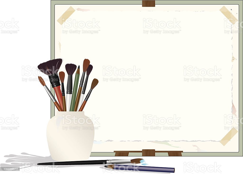 Brushes and Easel Border royalty-free brushes and easel border stock vector art & more images of art and craft