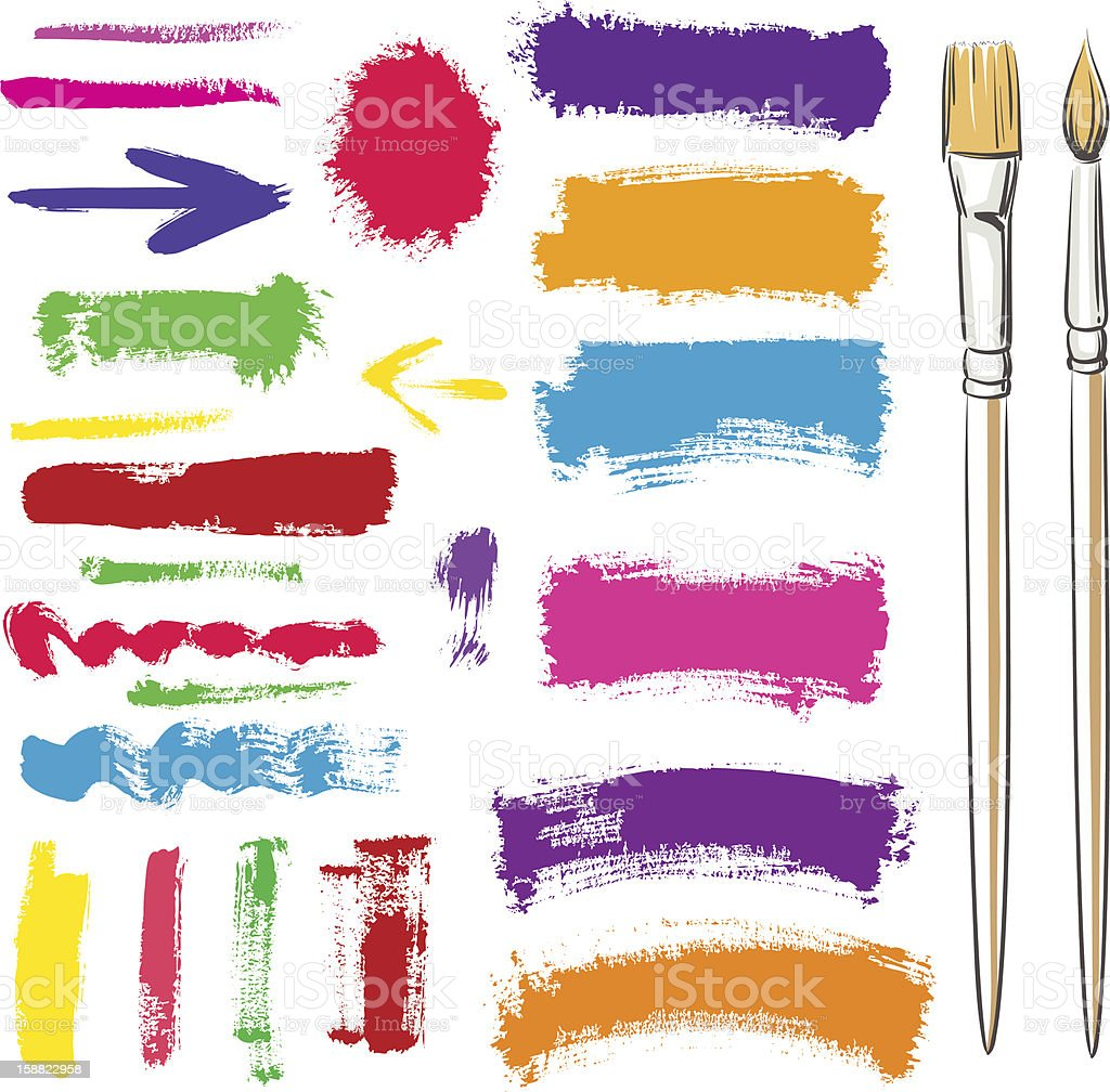 Brushes and grunge painted elements royalty-free stock vector art