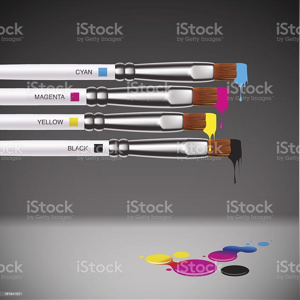 CMYK brushes on grey background vector art illustration