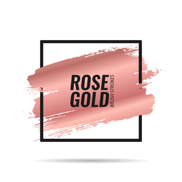 Brushes strokes. Banner. Rose gold. Rose gold brushes strokes. Picture frame. Template for banners, advertising signs, flyers, postcards. Vector illustration make up brush stock illustrations