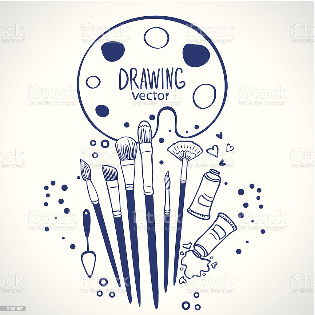 brushes vector art illustration