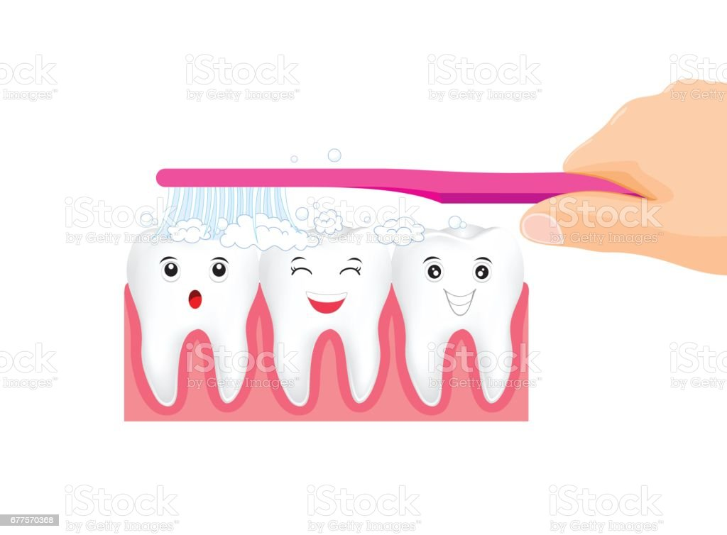 Brushing Teeth. Hand hold toothbrush with Toothpaste bubbles foam. royalty-free brushing teeth hand hold toothbrush with toothpaste bubbles foam stock vector art & more images of anatomy