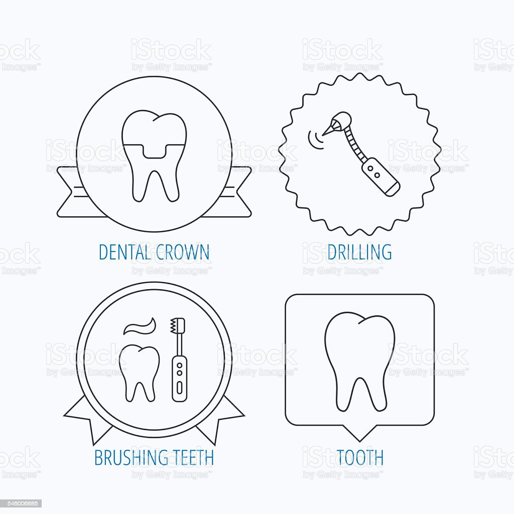 Emaille Putzen zähne putzen zahn und dental kronenicons stock vektor und mehr