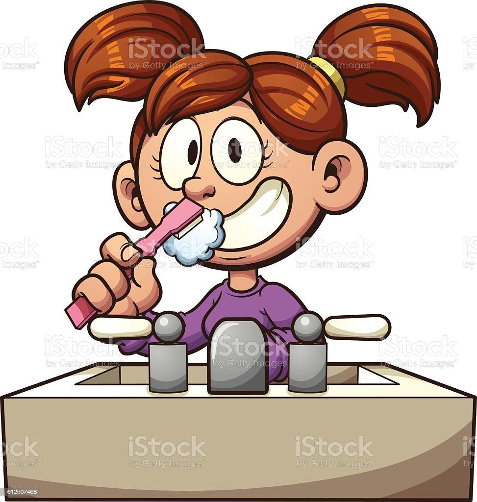 Brushing teeth vector art illustration