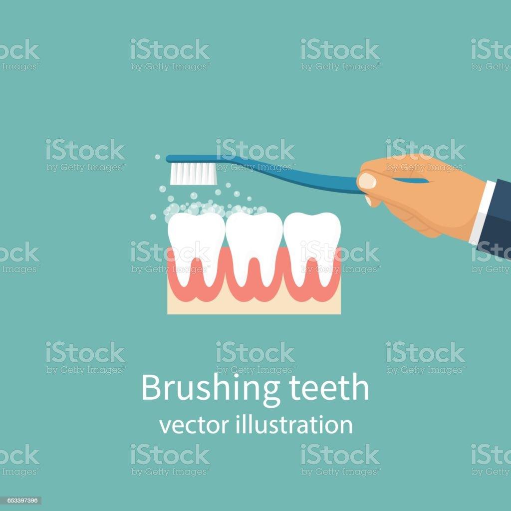 Brushing Teeth. vector vector art illustration