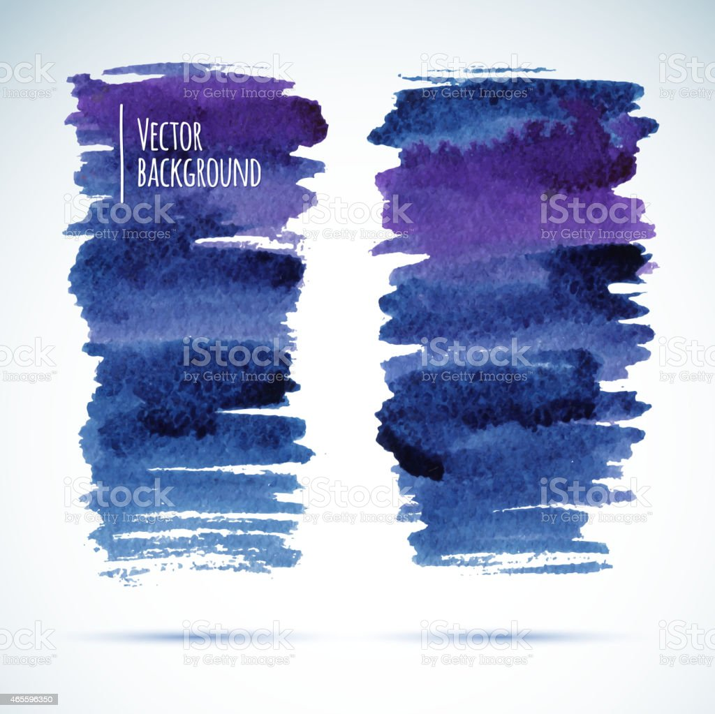 Brushstroke banners. Ink blue watercolor spot backgrounds.Template with shadow vector art illustration