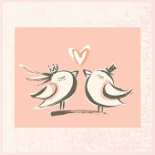 Hand-drawn style love birds. Zip contains AI, PDF and hi-res jpeg.
