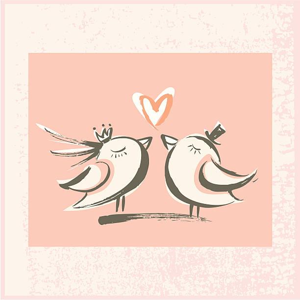 Brushstroke Love Birds vector art illustration