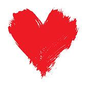 Brushstroke painted red heart shape