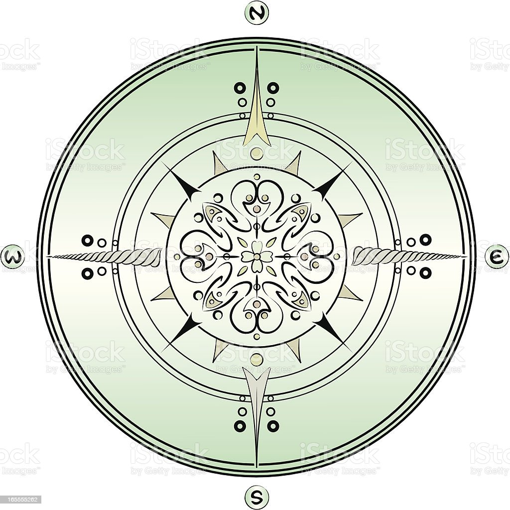 Brushwork and Paisley Traditional Marine Compass. royalty-free stock vector art