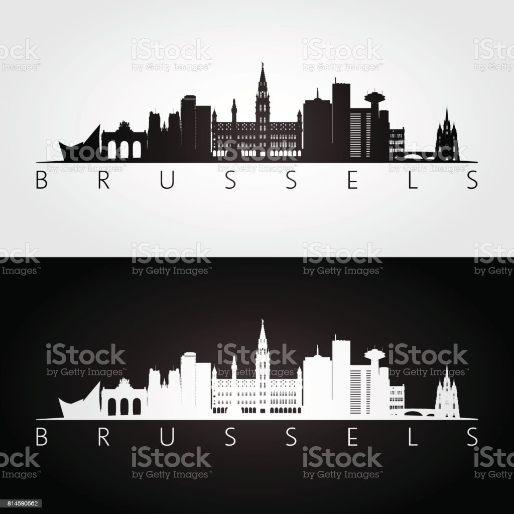 Bruselas silueta de horizonte y puntos de referencia, diseño blanco y negro, vector de ilustración. - ilustración de arte vectorial